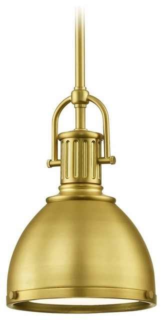 "Industrial Small Pendant Light With Metal Shade 7.38"", Satin Brass."