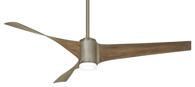 Triple 60 Led Ceiling Fan, Brushed Steel.