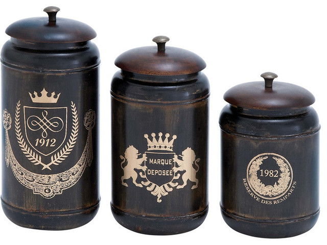 benzara 38121 canisters with cylindrical jars and matching
