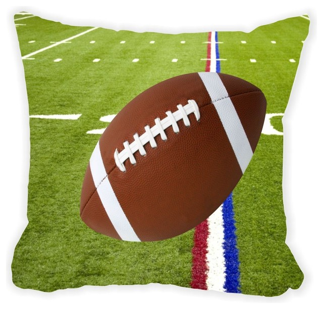 Football On Red White And Blue Field Microfiber Throw Pillow, No Fill.