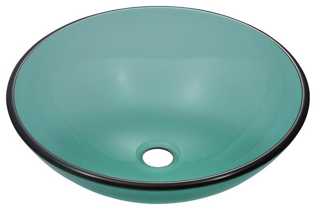emerald colored glass vessel sink traditional bathroom 12375