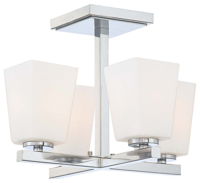 City Square 4-Light Semi-Flush Mounts, Chrome.