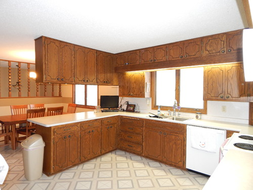 Need ideas for 1970 39 s oak kitchen cabinet update for Kitchen design 70s