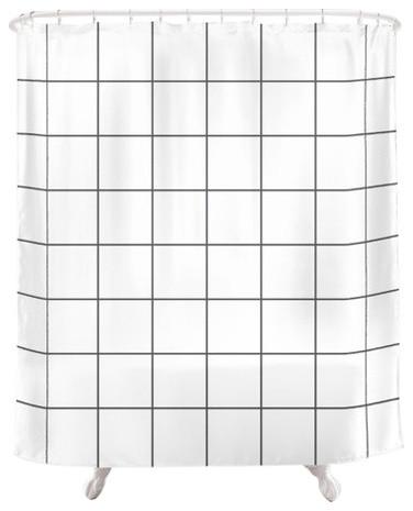 Grid Shower Curtain, White