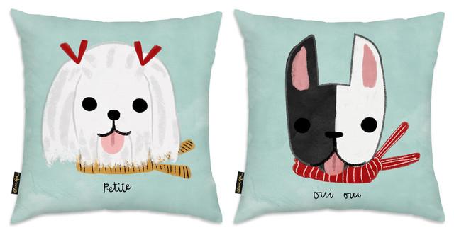 Oliver Gal 2 Piece Quot Green Canine Quot 18 Quot X18 Quot Pillow Set
