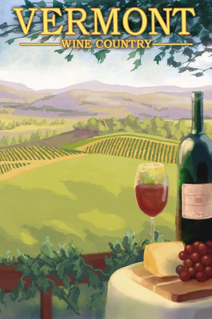 """""""Vermont, Wine Country Scene"""" Print, 24""""x36"""""""
