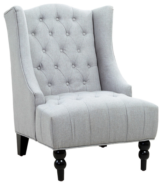 Gentil Clarice Tall Wingback Tufted Fabric Accent Chair, Silver