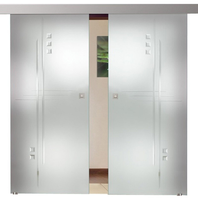 """Double Leaf  Sliding Glass Barn Doors And Glass Application, 72""""x81""""."""