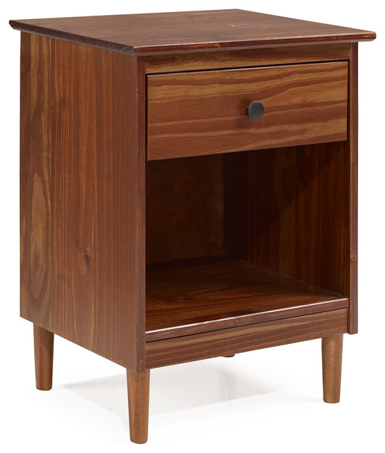 Clic Midcentury Modern 1 Drawer Solid Wood Nightstand Side Table Walnut