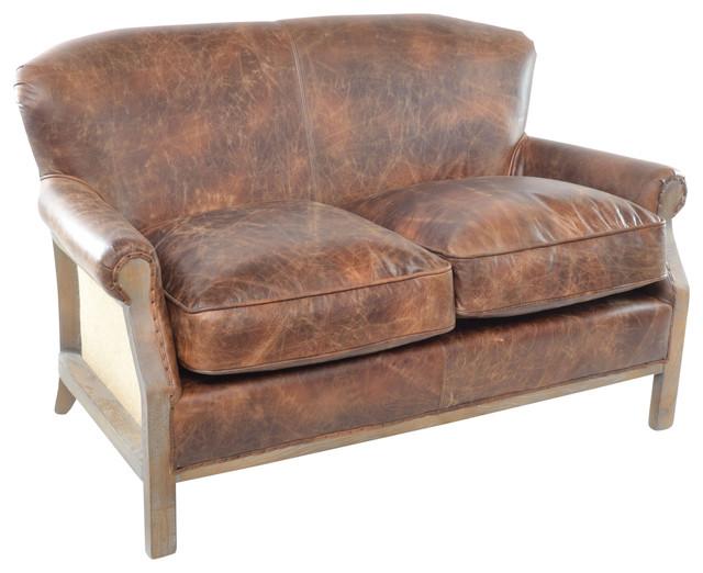 Leather And Burlap Sofa
