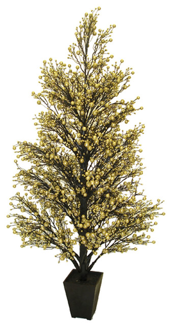 Northlight 44 potted gold and black glittered berry for Modern gold christmas tree