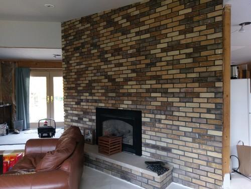 Large brick fireplace