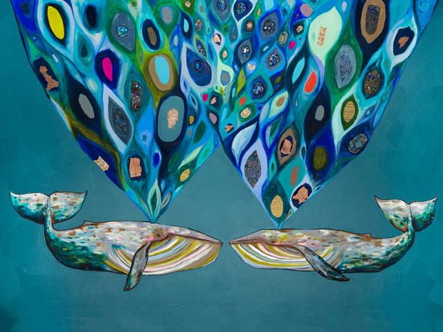 """whales Power Spray"" Canvas Wall Art By Eli Halpin, 40""x30""."