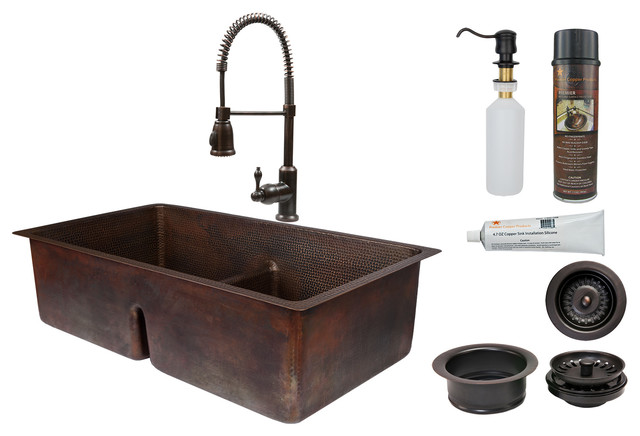 "33"" Hammered Copper Kitchen Apron 30/70 Double Basin Sink With Short 5"" Divider."