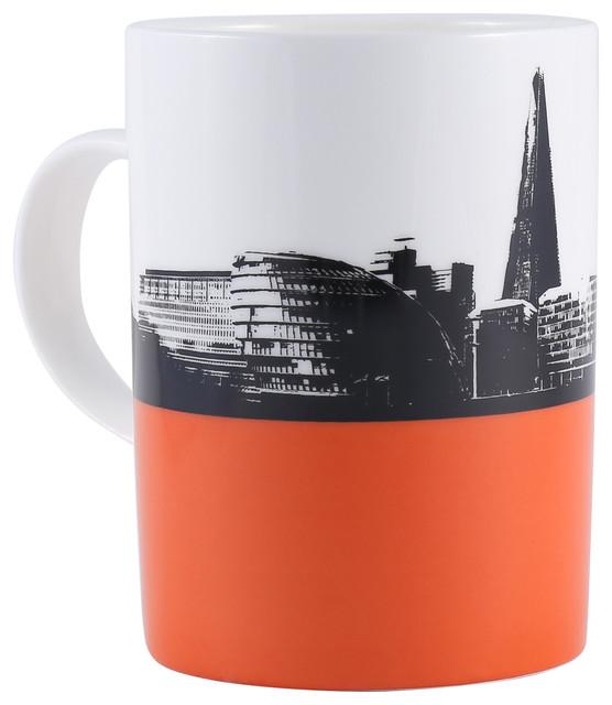 9de79b5a58b The Shard Orange Bone China Mug - Contemporary - Mugs - by The Art ...