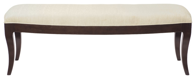 Luisa Modern Classic Cherry Wood Ivory Fabric Bench.