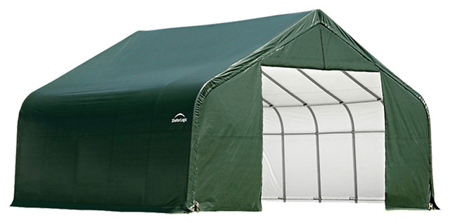 Shelter Logic Outdoor Sheltercoat Garage 28&x27;x28&x27;x16&x27;, Peak Standard, Green.