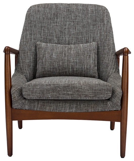 Carter Gray Fabric Upholstered Leisure Accent Chair In Walnut Wood Frame.