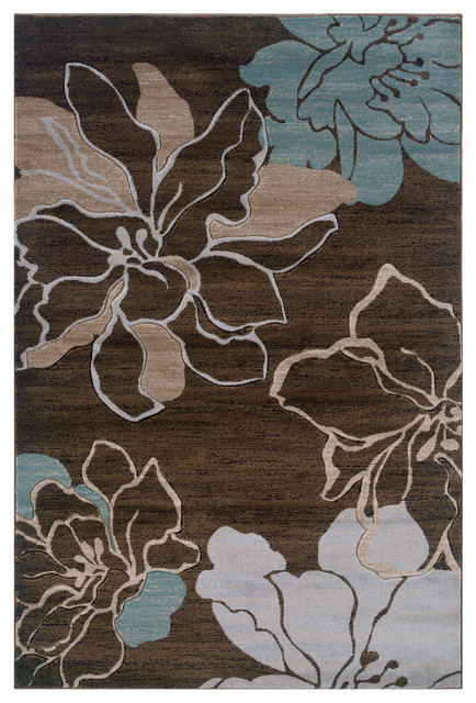 Linon Rugs Milan Flower Rectangular Area Rug Brown And Turquoise 5 X7 7