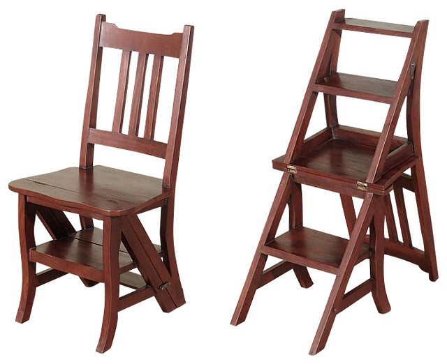 Solid Mahogany Convertible Library Chair Step Ladder Stool 3b Ww Living Room Chairs