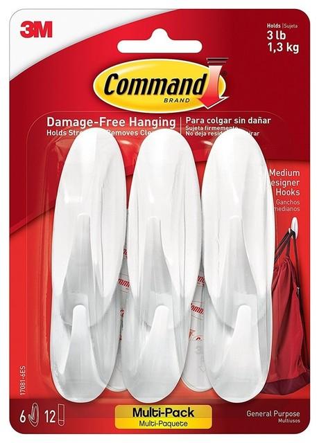 White 17002-6ES Command Small Utility Hooks 6-Hooks