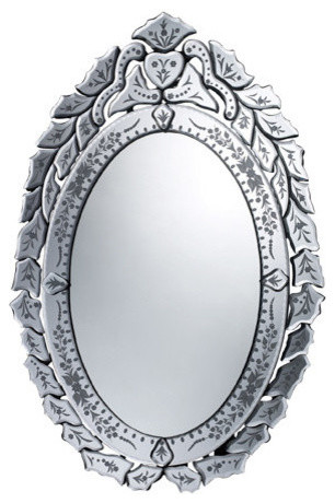 "Traditional Erhart Mirror In Clear, 30""x20""."