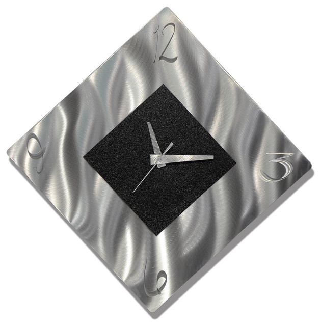 Silver And Black Diamond Metal Wall Clock, Functional Art
