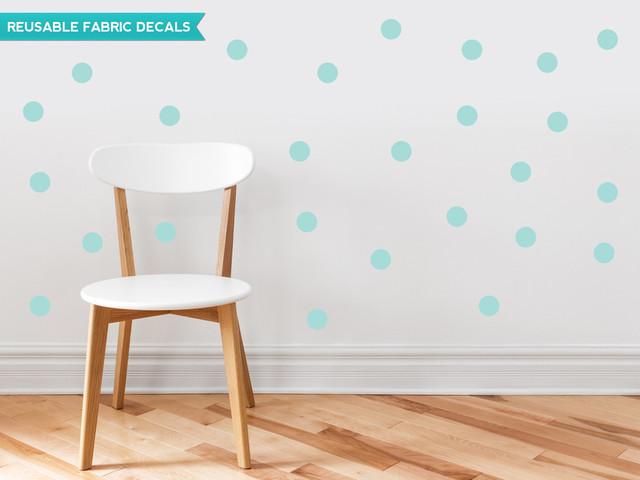 Polka Dot Fabric Wall Decals, Set Of 48, 2 Polka Dots, Aqua.