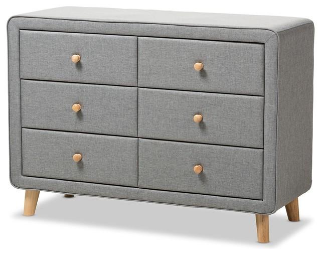 Mid-Century Gray Fabric Upholstered 6-Drawer Dresser, Gray.
