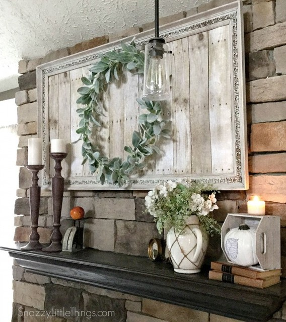 Farmhouse Style Mantel With Repurposed Art Cleveland