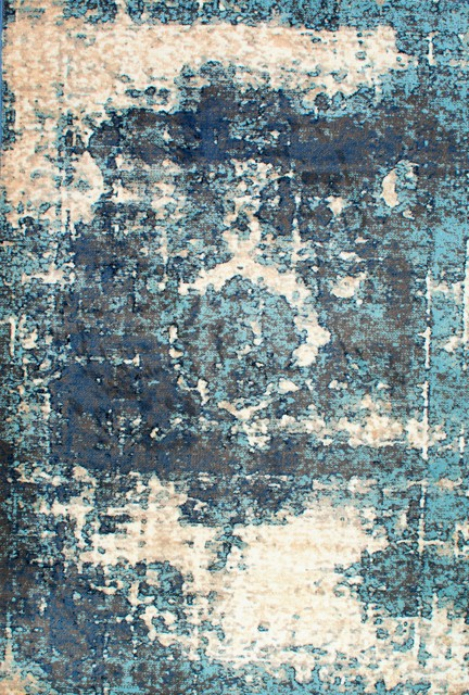 Traditional Distressed Medallion Oversized Rug, Blue, 12&x27;x15&x27;.