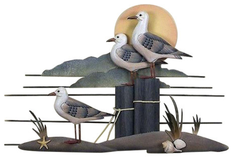 Seagull Trio Wood and Metal Wall Sculpture  sc 1 st  Houzz & Seagull Trio Wood and Metal Wall Sculpture - Beach Style - Metal ...