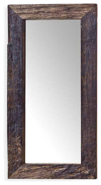 Mawson Rustic Lodge Reclaimed Driftwood Rectangle Mirror.