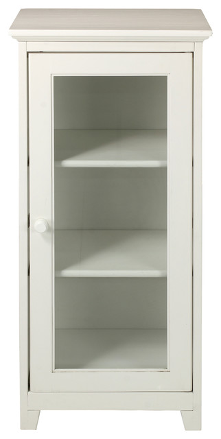 3-Shelf Cabinet With Glass Door, White - Transitional - Storage ...