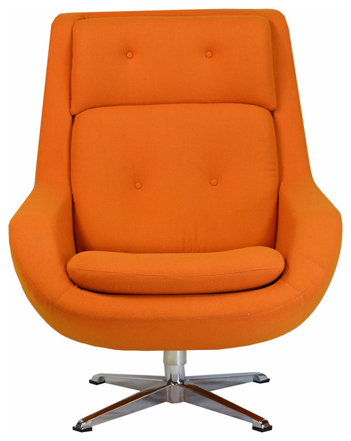 Commander Swivel Chair, Orange Midcentury Armchairs And Accent Chairs