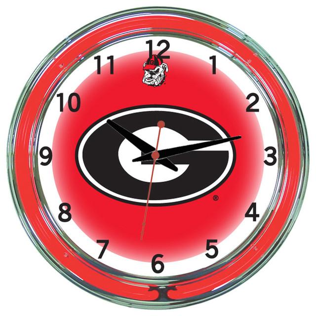 Georgia Bulldogs 18 Quot Wall Clock With Neon Lights