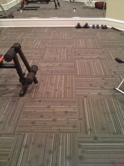 Home gym with commercial carpet squares atlanta by