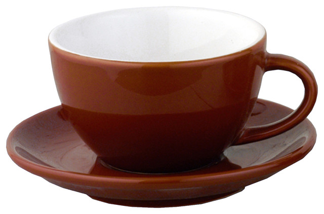 Brown Heavyweight Cappuccino Cups Set Of 6 Cups And