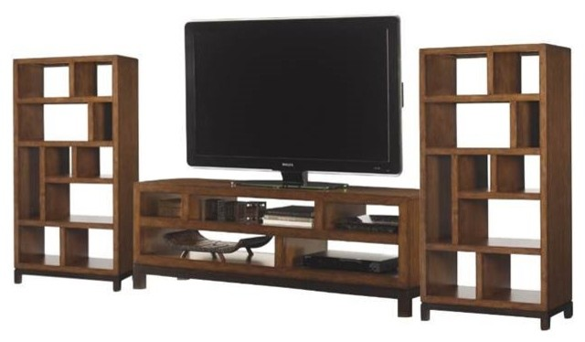 3 Piece Entertainment Center Set Including TV Stand and 2 Bookcases