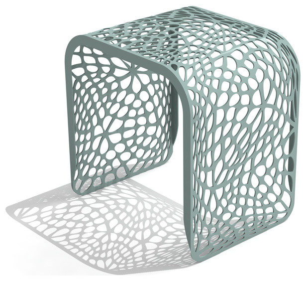 Arktura Coral Stool, Sea Green Contemporary Accent And Garden Stools