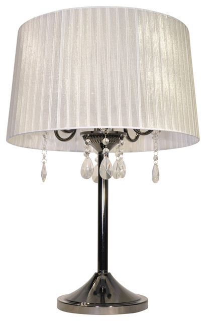 Crystal Table Lamp, White and Chrome