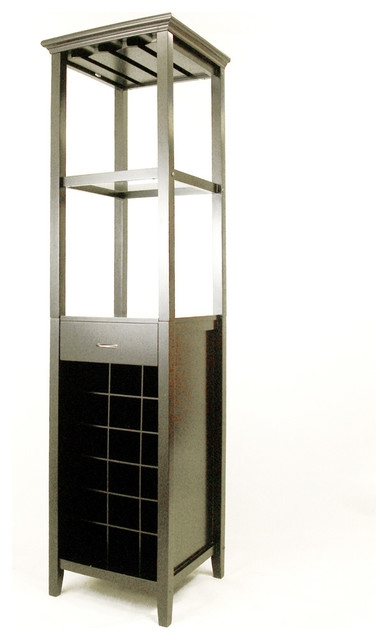 Proman Products Galina Wine Rack Tower with Glass Holder in Black - Traditional - Wine And Bar ...