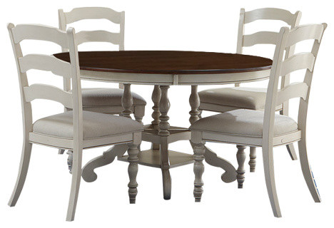 Pine Island 5 Piece Round Dining Set With Ladder Back