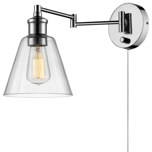 Danburite 1-Light Brushed Steel Plug-In Or Hardwire Mini Pendant.