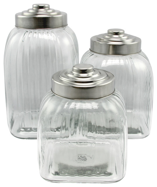 Gibson Home Cottage Chic 3 Piece Clear Glass Canister Set Stainless Steel Lid