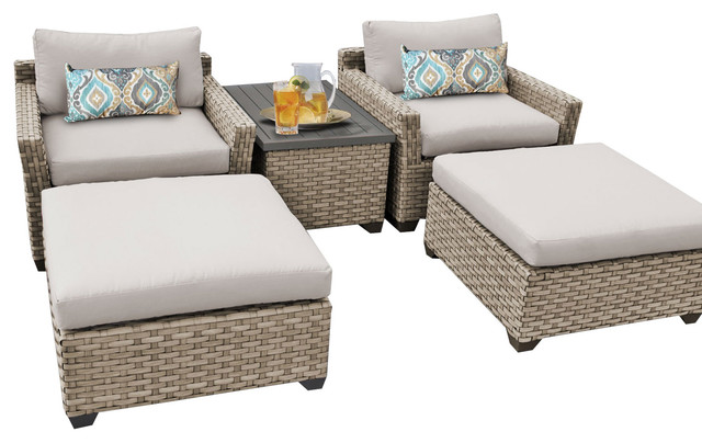 Charmant Hampton Outdoor Wicker 5 Piece Patio Set