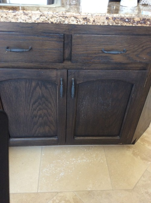 How To Update Old Dark Stained Cabinets - Dark gray stained cabinets