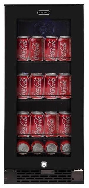 Built-In Black Glass Beverage Refrigerator.