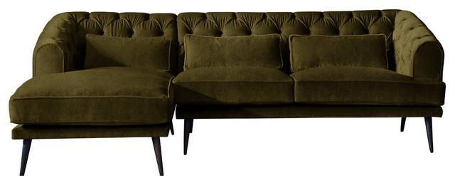 Earl Grey Chaise Sofa, Peridot, 3 Seater, Left Hand Facing