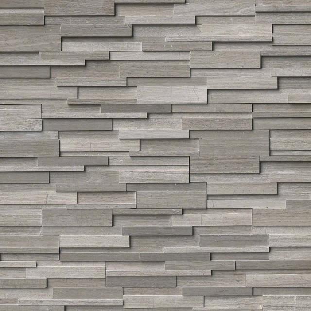 "Gray Oak 3D Honed Stacked Stone Marble Ledger Panels, 6""x24"" Panel, 40 Sq Ft"